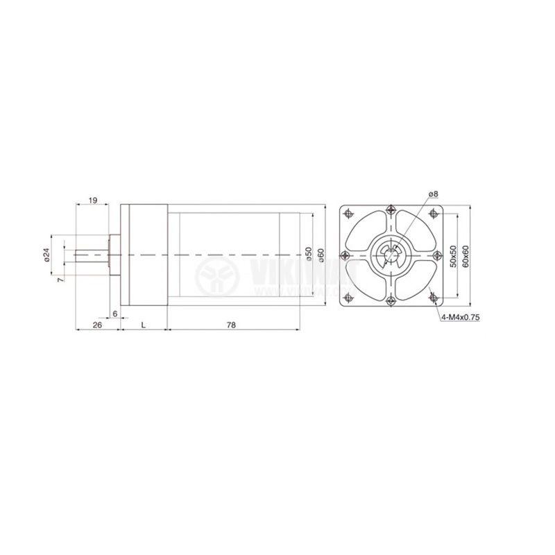 DC Motor Reducer, 24VDC, 180rpm, VFGA60FHH272i A802 - 3