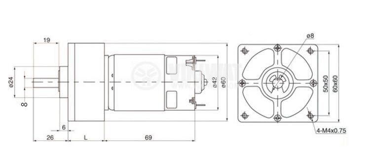 DC Motor Reducer, 12VDC, 170rpm, 0.5 A,  VFGA60FH-22i A802 - 3