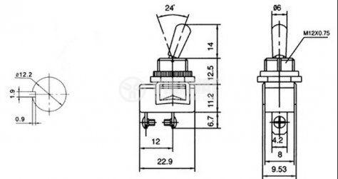ЦК ключ KN3Е-101, 3A/250VAC, 6A/125VAC, SPST, ON-OFF - 2