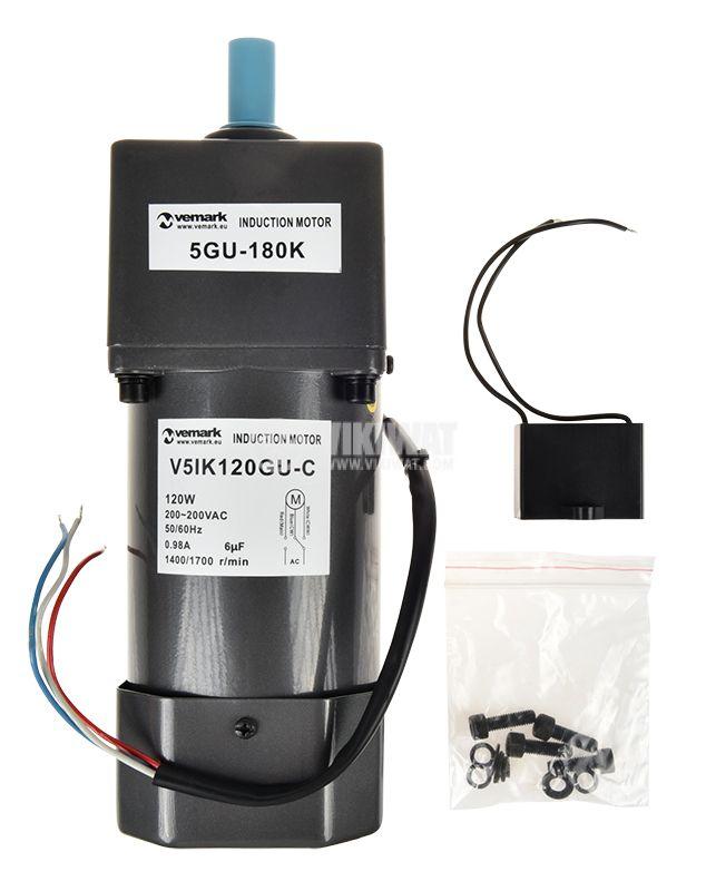 AC Gear motor 220VAC, 120W, 8rpm, V51K120GU-C+5GU 180K - 4