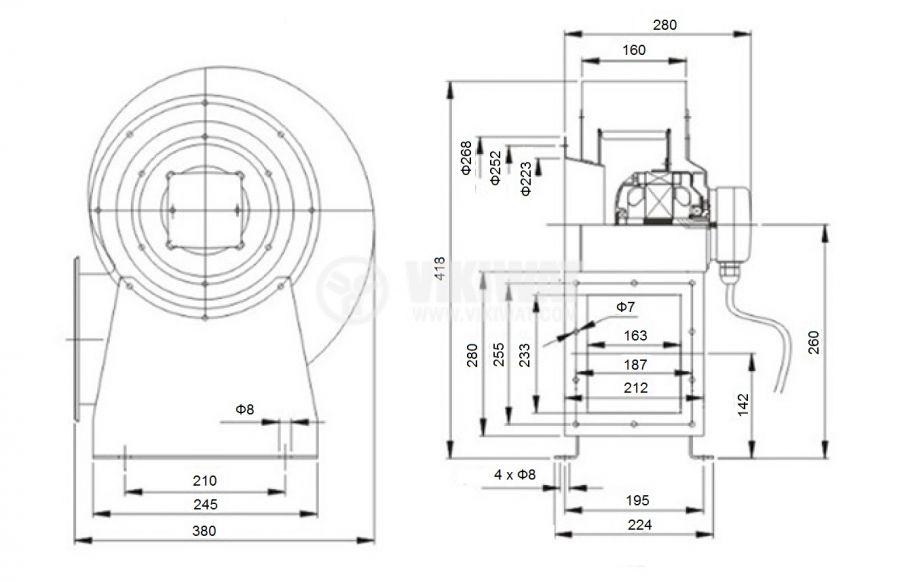 """Вентилатор, промишлен, центробежен , 2300m3/h, 560W, 380VAC, V-4D-250QD, тип """"охлюв"""", с лагер - 2"""