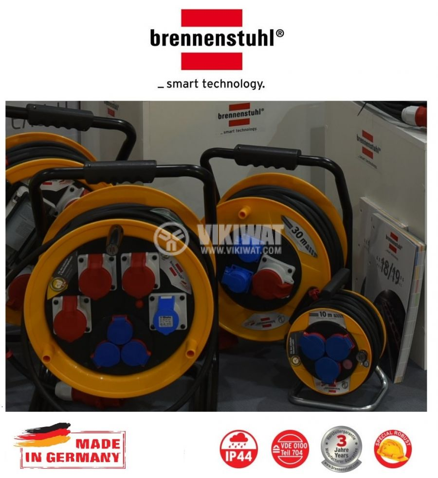 Extension reel, Brennenstuhl, Brobusta CEE 1, 3-way, 30m, 5x2.5mm2, thermal protection, yellow, 1316300 - 2