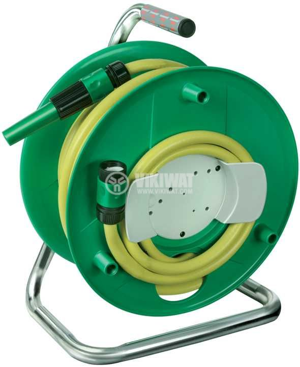 Hose reel Brennenstuhl 20m water hose, ф1/2, spraying nozzle, waterstop, yellow, 1237120 - 1