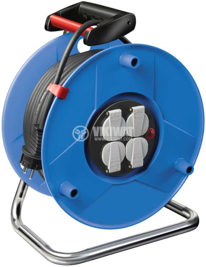 Extension reel, Brennenstuhl, GARANT, 4-way, 40m, 3x2.5mm2, thermal protection, blue, 1208300 - 1
