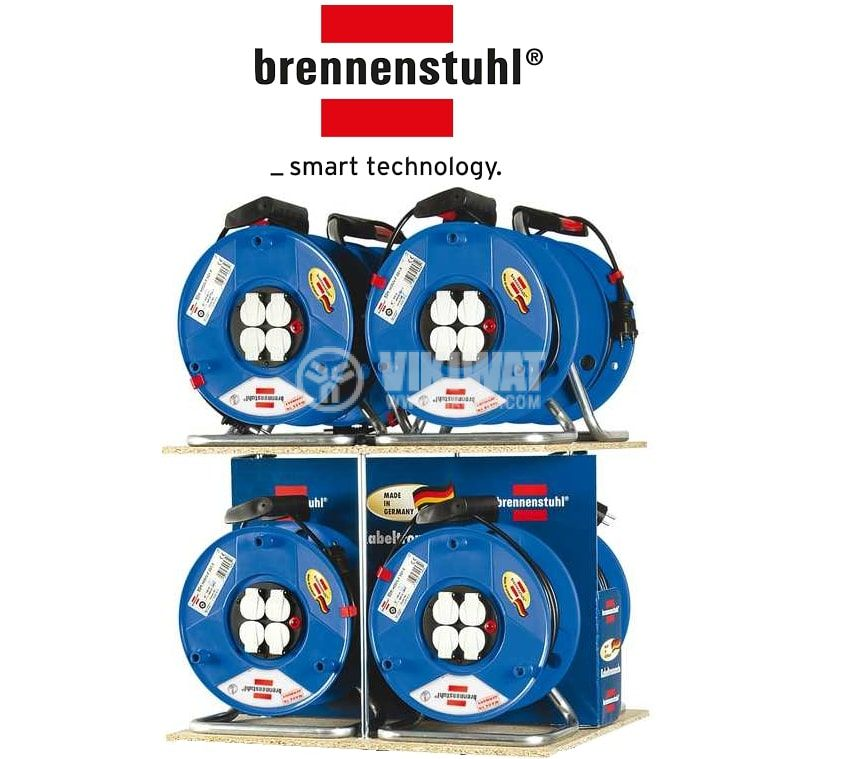 Extension reel, 4-way, 40m, 3x2.5mm2, thermal protection, blue, 1208300 - 2