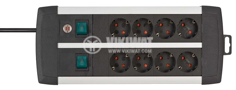 8-way Power Outlet, Brennenstuhl, 3m cable, black, 1391000908 - 2
