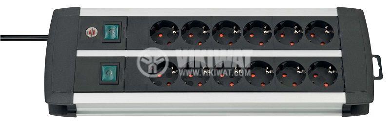 Разклонител 12-ка, Brennenstuhl, Premium-Alu Line, 3m кабел, черен, 1391000912 - 1