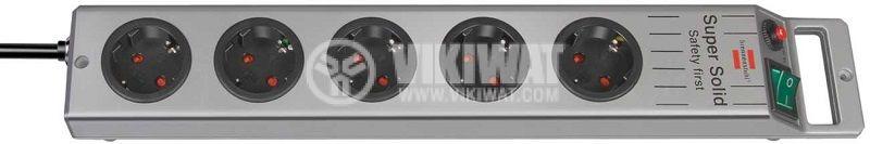 Разклонител 5-ца, Brennenstuhl, 3m кабел, сребрист, 1153340115 - 1