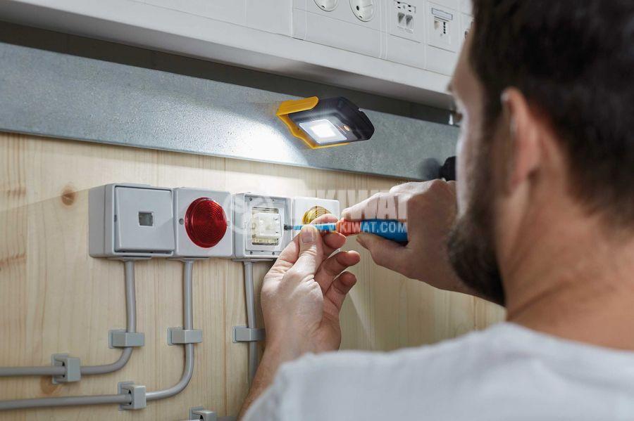 Универсална LED работна лампа/ фенер 4 + 3 LEDs, 200lm, 6500K, студено бяла, HL DB43 MH, Brennenstuhl, 1175420010  - 5