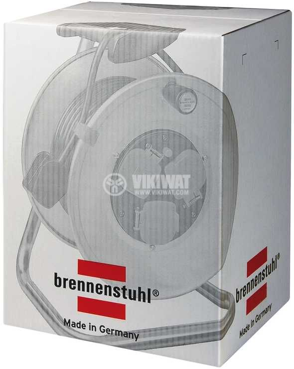 4-way Extension reel, Brennenstuhl, GARANT S, 50m, 3x1.5mm2, thermal protection, steel, 1195066 - 3