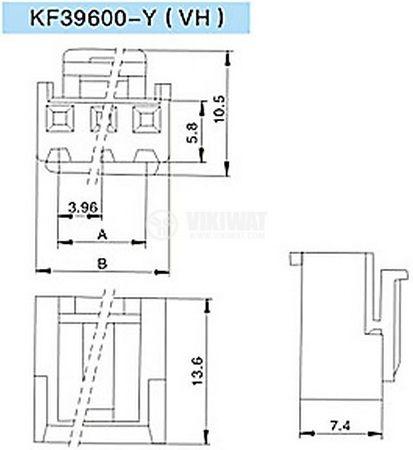 Конектор за обемен монтаж женски, VF39600-2Y, 2 пина - 2