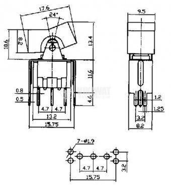 Клавишен превключвател rocker, RLS-102-A2T, 3 A/ 250VAC, 6 A/ 125 VAC, ON-ON SPDT - 4