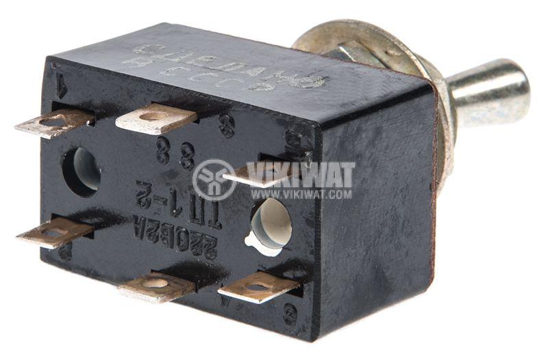 ЦК ключ ТП1-2, 6А/250VAC, 4А/250VDC, 6A/24VDC, DPDT, ON-OFF - 3