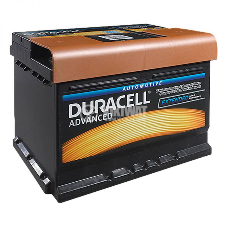 Car battery, 44AH, starter, 12VDC, right +, DURACELL DA 44