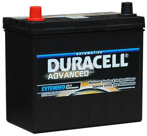 Car battery, 60AH, starter, 12VDC, left +, DURACELL DA 60L