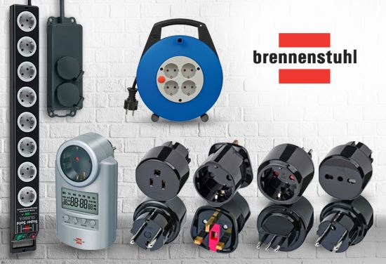 German quality from BRENNENSTUHL - power socker strips, cable reels, mains extension leads, travel adapters, energymeters