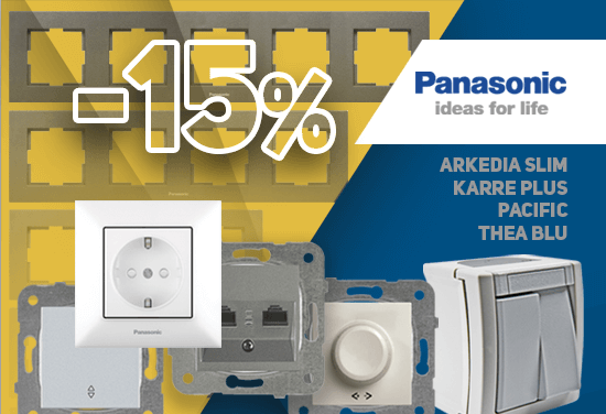 -15% of all Switches, Contacts, Frames, Sockets and Switches for water heaters, brand Panasonic. Renovate your home with quality and style. Over 200 products.